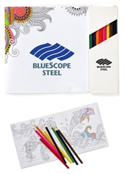 Deluxe Adult Coloring Book & 8-Color Pencil Set To-Go mini adult coloring book, adult coloring book and pencil set, imprinted adult coloring book, adult coloring book with logo, adult coloring book giveaway, promotional products, employee appreciation, employee recognition, smiley face, employee wellness, stress relief