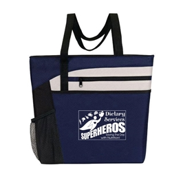 """Dietary Services: Superheroes Saving The Day With Nutrition"" Bullet Zip Pockets Tote  Food, Service, Dietary, Services, Nutrition,  Theme, Bullet Tote, Tablet Tote, All Purpose, Prime, Polyester, Linen, Meeting, Signature, Zip, Promotional Events, Trade Show Bags, Health Fair, Imprinted, Tote, Reusable"