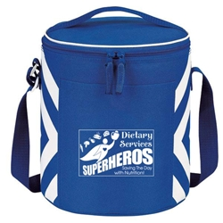"""Dietary Services: Superheroes Saving The Day With Nutrition"" Geometric Print Accent 12-Pack Round Cooler  Food, Service, Dietary, Services, Nutrition, Geometric, design, Accent, Round, cooler, 12 pack cooler, Promotional, Imprinted, Travel, Custom, Personalized, Bag"