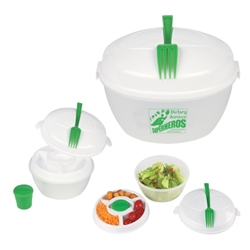 """Dietary Services: Superheroes Saving The Day With Nutrition"" Salad Bowl Set   Food, Service, Dietary, Services, Nutrition, theme, Salad Bowl, Set, 3-piece, Salad, Shaker, Imprinted, Personalized, Promotional, with name on it, giveaway,"