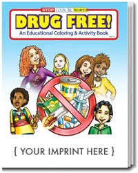 Drug Free Coloring & Activity Book promotional coloring book, anti-drug promotion, drug prevention, drug free, drug free schools, red ribbon week, drug prevention promotional items