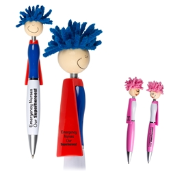 Emergency Nurses...Our Superheroes! MopTopper™ Superhero Pen  Superhero Pen, Pen with Cape, Hero Pen, Mop, Topper, Hair, Top, Smile, Pen, Stylus, Screen Cleaner, Pendant Pen, Pendant, Pen, Pens, Ballpoint, Aluminum, Imprinted, Personalized, Promotional, with name on it, giveaway, black ink