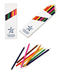 Eight-Pack Colored Pencil Set in White Box mini adult coloring book, adult coloring book and pencil set, imprinted adult coloring book, adult coloring book with logo, adult coloring book giveaway, promotional products, employee appreciation, employee recognition, smiley face, employee wellness, stress relief