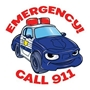 Emergency Call 911 Police Car Temporary Tattoo public safety, law enforcement promotional items, kids safety, crime prevention, learn about 911, child safety, public safety, community affairs, community outreach