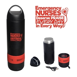 """Emergency Nurses Deserve Praise Every Day, In Every Way"" 13 oz. Bluetooth Speaker Vacuum Water Bottle  ER, Nurses, Emergency, Room, Nurses,  promotional bluetooth speaker, custom printed vacuum bottle, custom printed bluetooth speaker, corporate holiday gifts, employee appreciation gifts, business gifts"
