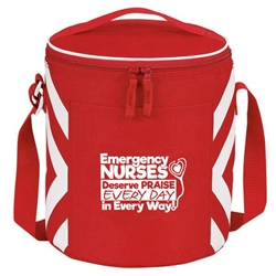 """Emergency Nurses Deserve Praise Every Day, In Every Way"" Geometric Print Accent 12-Pack Round Cooler  ER, Nurses, Emergency, Gift, Team, Geometric, design, Accent, Round, cooler, 12 pack cooler, Promotional, Imprinted, Travel, Custom, Personalized, Bag"
