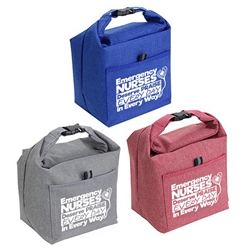 """Emergency Nurses Deserve Praise Every Day, In Every Way"" Roll Top Buckle Insulated Lunch Totes  ER, Emergency, Room, Nurses, Theme,  promotional cooler bags, promotional lunch bag, employee appreciation gifts, custom printed lunch cooler, customized lunch bag, business gifts, corporate gifts"