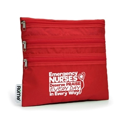 """Emergency Nurses Deserve Praise Every Day, In Every Way"" RuMe Baggie All ER, Nurses, Emergency, Room, Nursing, Week, Theme, Cosmetic Bag, Amenities Bag, 3 Zipper Purse, All purpose, Imprinted Zip Bag, Promotional, Imprinted, with name on it, logo, custom bag, gift bag, baby bag, diaper bag, fashion bag"