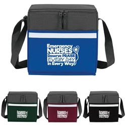 """Emergency Nurses Deserve Praise Every Day, In Every Way"" Two-Tone Accent 12-Pack Cooler   Emergency, Nurses, ER, Gifts, two tone, cooler, accent, lunch bag, 12 pack cooler, Promotional, Imprinted, Polyester, Travel, Custom, Personalized, Bag"