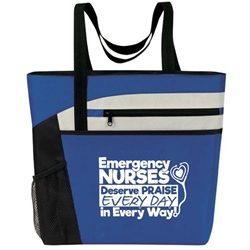 """Emergency Nurses Deserve Praise Every Day in Every Way! Bullet Zip Pockets Tote  Emergency Nurses Theme Tote, Emergency Nurses Tote, Tote, All Purpose, Prime, Polyester, Linen, Meeting, Signature, Zip, Promotional Events, Trade Show Bags, Health Fair, Imprinted, Tote, Reusable"