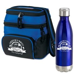 """Emergency Nurses: Your Care Makes A Difference In So Many Ways!""  Deluxe Break Pack  Lunch Bag Combo, Appreciation Gift Combo, Cooler and Bottle Combo, Break Pack, Housekeeping Gift Set, Theme, promotional products, scooler set, Lunch bag, Imprinted"