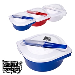 """Emergency Nurses Deserve Praise Every Day in Every Way!"" On The Go Lunch Kit  Multi-Compartment Food Container With Utensils, Customer Service Week, Stock, Design, Multi-Compartment, Food Container, with, Utensils, Imprinted, Personalized, Promotional, with name on it, giveaway,"