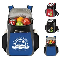 """Emergency Nurses: Your Care Makes A Difference In So Many Ways!"" Prime 18 Cans Cooler Backpack   Emergency Nurses Week theme, Backpack cooler, Can Cooler, 18 Can Backpack cooler, 18 pack cooler, Imprinted, With Logo, With Name On It"
