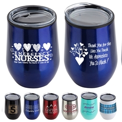 """Emergency Nurses: Your Care Warms The Hearts & Lives Of All"" 12 oz Stainless Steel/Polypropylene Wine Goblet  Emergency, Nurses, ER, Theme, Wine Tumbler, Goblet, 11 oz wine goblet, wine holder, wine tumbler, Stainless Steel Wine Holder, 10 oz tumbler, Imprinted Tumblers, Stainless Steel Tumblers, Care Promotions,"