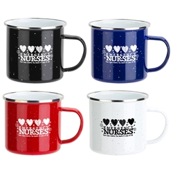 "Emergency Nurses: Your Care Warms The Hearts & Lives Of All"" Foundry 16 oz. Enamel Lined Iron Coffee Mug  ER, Emergency Nurses, promotional coffee mug, custom logo coffee mug, promotional drinkware, promotional camp mug, promotional camping mug, coffee mug with your logo, speckled camp mug, employee appreciation gifts, business gifts, promotional giveaways"