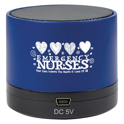"""Emergency Nurses: Your Care Warms The Hearts & Lives Of All"" Wireless Mini Cylinder Speaker   Emergency Nurses, ER, theme Speaker, Blue Tooth Speaker Nursing, Team, Gifts, Theme, Wireless, mini, speaker, Bluetooth, 4.1, tech gifts, technology, ideas, Imprinted, Personalized, Promotional, with name on it, giveaway,"