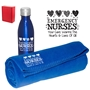 """Emergency Nurses: Your Care Warms The Hearts & Lives of All! EVENING-IN WINTER GIFT SET   Emergency Nurses, ER, Nurses, Bottle and Blanket set, Theme, Blanket Gift Set, Employee Holiday Gift Idea,  personalized, with logo, imprinted"