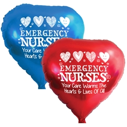 """Emergency Nurses: Your Care Warms The Hearts & Lives of All!"" Heart Shaped Foil Balloons (Pack of 10 assorted colors)  Emergency Nurses Week, Theme, foil balloons, mylar, party goods, decorations, celebrations, round shaped balloons, promotional balloons, custom balloons, imprinted balloons"