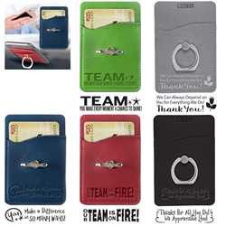 """Employee Appreciation & Recognition"" Tuscany Card Holder with Metal Ring Phone Stand  Employee, Appreciation, Recognition, Day, Team, Week, Theme, Appreciation, business gifts, corporate holiday gifts, custom smart phone wallet, custom printed smartphone wallet, customized phone wallet, promotional phone stand, cell phone promotional products, employee appreciation gifts, recognition gifts, custom logo thank you gifts"