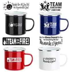 Employee Appreciation Themes 16 oz. Enamel Lined Iron Coffee Mug  employee appreciation coffee mug, employee recognition, promotional coffee mug, custom logo coffee mug, promotional drinkware, promotional camp mug, promotional camping mug, coffee mug with your logo, speckled camp mug, employee appreciation gifts, business gifts, promotional giveaways
