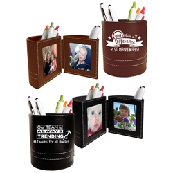 Employee Recognition & Appreciation! Leatherette Folding Photo Frame Desk Caddy   Employee Recognition Theme Business Gifts, business gifts, desk gifts, pen caddy, photo frame, holiday gifts, corporate holiday gifts, promotional pen holder, desk organizer