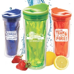 Employee Recognition & Appreciation Prism Tumblers  Employee Appreciation Tumbler, Employee Recognition Tumbler, crystal style, prism, glacier, tumbler, beverage holder, travel tumbler, drinkware, sporty, promotional products