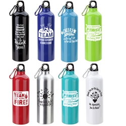 Employee Recognition & Appreciation Theme Atrium 25 oz Aluminum Bottle with Carabiner Employee Appreciation Bottle, Employee Recognition Bottle, Aluminum, Carabiner, Water Bottle, Sport Bottle, imprinted sport bottle, promotional, custom printed copper bottle, customized copper bottle, promotional drinkware, custom printed bottle, personalized stainless bottle