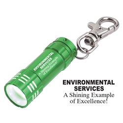 Environmental Services: A Shining Example of Excellence! Design Mini Aluminum LED light with Key Clip Mini Aluminum LED Light With Key Clip, Environmental Services, A Shining Example Of Excellence, Stock, Design, Mini, Aluminum, LED, Light, with, Key, clip, Imprinted, Personalized, Promotional, with name on it, giveaway,