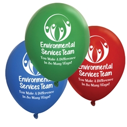 """Environmental Services Team: You Make A Difference In So Many Ways"" 11 inch Crystal Latex Balloons (Pack of 60 assorted)    EVS, Environmental Services, Team, Housekeeping, housekeepers, week, staff, Theme, Latex, balloons, party goods, decorations, celebrations, round shaped balloons, promotional balloons, custom balloons, imprinted balloons"