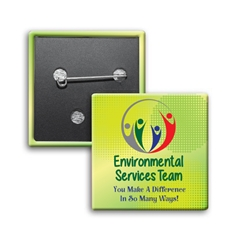 """Environmental Services Team: You Make A Difference In So Many Ways"" Square Buttons (Sold in Packs of 25)  Environmental Services, and, Housekeeping Week, International, Housekeeping, Housekeepers, Week, Recognition, Appreciation, Square Button, Buttons, Campaign Button, Safety Pin Button, Full Color Button, Button"