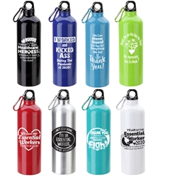 Essential Worker Recognition & Appreciation Theme Atrium 25 oz Aluminum Bottle with Carabiner  Essential Worker, Appreciation, Recognition, Employee Recognition Bottle, Aluminum, Carabiner, Water Bottle, Sport Bottle, imprinted sport bottle, promotional, custom printed copper bottle, customized copper bottle, promotional drinkware, custom printed bottle, personalized stainless bottle