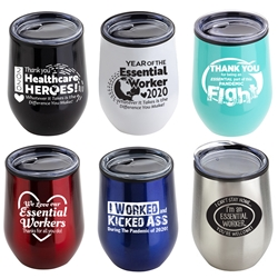 Essential Workers Appreciation & Recognition 12 oz Stainless Steel/Polypropylene Wine Goblet  Essential Worker Appreciation, Recognition, Wine Tumbler,  Goblet, 11 oz wine goblet, wine holder, wine tumbler, Stainless Steel Wine Holder, 10 oz tumbler, Imprinted Tumblers, Stainless Steel Tumblers, Care Promotions,