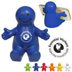 """Essential Workers Make The World Smile"" Happy Dude Mobile Device Holder  Essential Workers, Essential Worker Appreciation, Employee Appreciation Week, Appreciation Theme, Recognition theme, promotional cell phone stand, promotional stress reliever, custom logo stress relievers, custom logo phone stand, employee appreciation gifts, trade show giveaways"