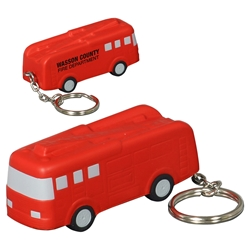 Fire Truck Stress Reliever Keychain fire safety promotional items, fire department giveaways, promotional stress relievers, fire truck stress reliever, fire prevention week, fire safety education, promote fire safety, fire engine stress reliever keychain