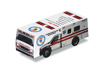 Foldable Die Cut Paper Ambulance ambulance promotional items, ems week giveaways, ems week promotional items, ems week supplies, EMT theme giveaways, learn about emergencies, community safety
