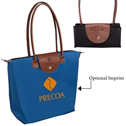 Folding Tote with Leather Closure | Care Promotions