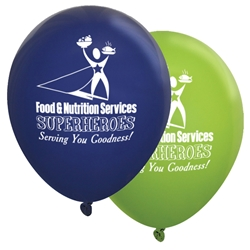 """Food & Nutrition Services: Superheroes Serving You Goodness"" 11 inch Fashion Opaque Balloons (Pack of 60 assorted)    National, Healthcare, Food, Service, Dietary, Services, week, staff, Theme, Latex, balloons, party goods, decorations, celebrations, round shaped balloons, promotional balloons, custom balloons, imprinted balloons"