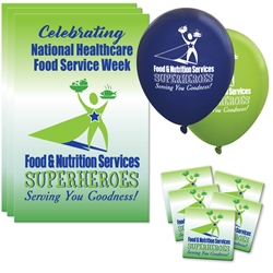 """Food & Nutrition Services: Superheroes Serving You Goodness"" Decoration Pack Poster, Buttons, Pens, Cups, Decoration, Celebration Pack, Food Service, Week, Dietary, Services, theme Celebration Pack"
