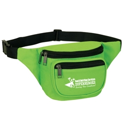"""Food & Nutrition Services: Superheroes Serving You Goodness"" Three Zippered Fanny Pack  Food Service, Nutrition, Services, Dietary, Week, Gifts, promotional fanny pack, promotional waist pack, custom printed fanny pack, customized travel bag, custom logo fanny pack, promotional products"