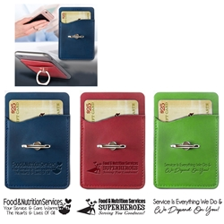 """Food & Nutrition Services: Superheroes Serving You Goodness"" Tuscany Card Holder with Metal Ring Phone Stand  Food Service, Dietary, Services, Team, Week, Theme, Appreciation, business gifts, corporate holiday gifts, custom smart phone wallet, custom printed smartphone wallet, customized phone wallet, promotional phone stand, cell phone promotional products, employee appreciation gifts, recognition gifts, custom logo thank you gifts"