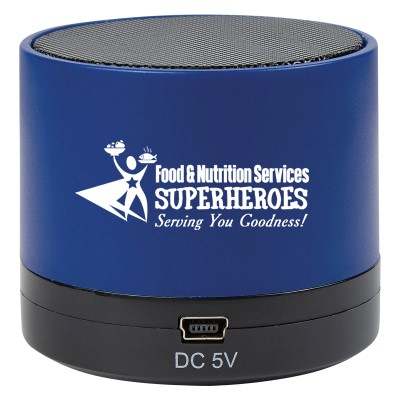 """Food & Nutrition Services: Superheroes Serving You Goodness"" Wireless Mini Cylinder Speaker Food Service, Nutrition, Services, Dietary, Team, Gifts, Theme, Wireless, mini, speaker, Bluetooth, 4.1, tech gifts, technology, ideas, Imprinted, Personalized, Promotional, with name on it, giveaway,"