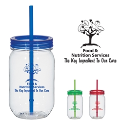 Food & Nutrition Services: The Key Ingredient To Our Care 25 Oz. Mason Jar With Matching Straw  25 Oz. Mason Jar With Matching Straw, Food Service, Nutrition Service, Mason, jar, Matching, Straw, Candy, Imprinted, Personalized, Promotional, with name on it, Gift Idea,