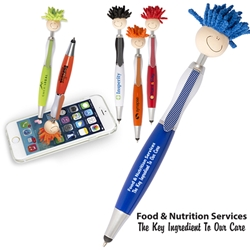 Food & Nutrition Services: The Key Ingredient To Our Care MopTopper™ Stylus Pen  Food Services Pen, Dietary Services Pen, Nutritional Services, Mop, Topper, Hair, Top, Smile, Pen, Stylus, Screen Cleaner, Pendant Pen, Pendant, Pen, Pens, Ballpoint, Aluminum, Imprinted, Personalized, Promotional, with name on it, giveaway, black ink