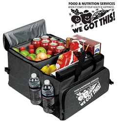 """Food & Nutrition Services. When It Comes To Health & Happiness...We Got This!"" Deluxe 40 Cans Cooler Trunk Organizer   Food service week theme cooler, Food and Nutrition Services Them Cooler, Food Services Week Gifts, Dietary Service Theme gifts, Appreciation, Food Service, Appreciation Can Cooler, 40 cans cooler, Trunk Organizer and Cooler, Trunk Organizer and Cooler, Can Cooler and Trunk Organizer, Imprinted, With Logo, With Name On It"