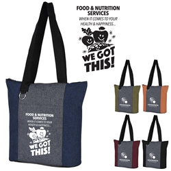 """Food & Nutrition Services. When It Comes To Health & Happiness...We Got This!"" Heathered Fun Tote Bag   Food Service Appreciation Theme Tote, Nutrition Services theme tote, Appreciation Tote food service week, Food & Nutrition Services Week theme tote,  Food Services Week theme tote, Food Service Appreciation Tote, Dietary Services Recognition Tote, 210D Polycanvas Tote, Fun, Heathered, Tote Bag, Colorful, Tote, Bag, Imprinted, Personalized, Promotional, with name on it, Giveaway, Gift Idea"