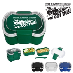 """Food & Nutrition Services. When It Comes To Health & Happiness...We Got This!"" On-The-Go Convertible Lunch Set   Food Service, Nutrition Services, Dietary theme, lunch plate, Lunch Dish, Lunch Plate, Lunch Set, Lunch Box, Imprinted, Personalized, Promotional, with name on it, Gift Idea, Giveaway, novelty pen, promotional pen, fidget spinner pen"