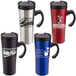 """Food & Nutrition Services. When It Comes To Health & Happiness...We Got This!"" Outback 16 oz. Travel Mug   Food Service, Nutrition Services Appreciation theme, Dietary Services, Food Service Theme Tumbler, Recognition Travel Mug, Housekeeping, Appreciation, Travel Mug, Steel Travel Mug, Under $6 Travel Mug, bottle, promotional drinkware, custom vacuum insulated drinkware, employee wellness gifts, fitness promotional items"
