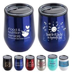 """Food & Nutrition Services: You Service & Care Warms The Hearts & Lives Of All"" 12 oz Stainless Steel/Polypropylene Wine Goblet  Food Service Appreciation, Healthcare Food Service Week, Recognition, Theme, Wine Tumbler, Goblet, 11 oz wine goblet, wine holder, wine tumbler, Stainless Steel Wine Holder, 10 oz tumbler, Imprinted Tumblers, Stainless Steel Tumblers, Care Promotions,"