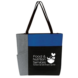"""Food & Nutrition Services: Your Service & Care Warms The Hearts & Lives of All"" Color Block Pocket Zip Tote   Food Service, Nutrition Services, Theme, tote, Food Service, Appreciation Tote, Dietary Service Theme, , Recognition, Color, block, Zip, Multi-Function, Luggage Loop Tote Bag, tote, Imprinted, Travel, Custom, Personalized, Bag"