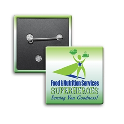 """Food & Nutritional Services: Superheroes Serving You Goodness"" Button Square Buttons (Sold in Packs of 25)     Celebrate National Healthcare Food Service Week Week with our square buttons decorated with our theme stock design ""Food & Nutritional Services: Superheroes Serving You Goodness"". Safety pin backed. Sold in packs of 25. $19.95."